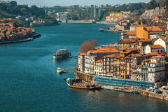 View of Douro river between Villa Nova da Gaia and Porto Stock Photos