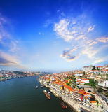 View of Douro riverside from the Dom Luiz bridge , Porto , Portugal. Royalty Free Stock Photography