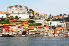 View of Douro riverside from the Dom Luiz bridge , Porto , Portugal. Royalty Free Stock Image
