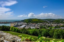 View of Dover and the harbor from the Castle up high. Stock Images