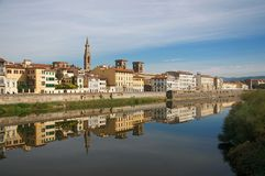A view down the Arno river in Florence stock image