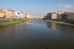A view down the Arno River to the Ponte Vecchio Royalty Free Stock Photos