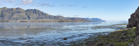 View down Berufjordur, Iceland, towards the Atlantic, with Whoop Stock Photo