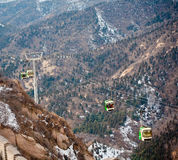 View down from the cable car near Great Wall Royalty Free Stock Photos