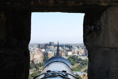The view down a cannon barrel from Edinburgh Castle stock photography