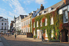 View down Cathedral Close in Exeter, Devon, UK Stock Image