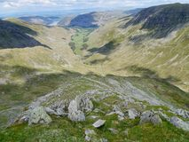 View down Dollywagon Pike Tongue, Lake District Stock Photo