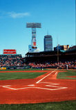 View down firstbase line, Fenway Park, Boston, MA Royalty Free Stock Photo