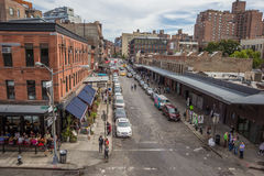 View down Gansevoort street from the high line Stock Image