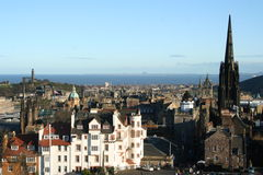 View down High Street from Edinburgh Castle. Looking down Edinburgh's Royal Mile (High Street) from the Castle, taken on November 30th 2009 St Andrews Day Royalty Free Stock Image