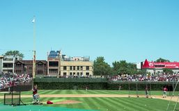 2001 View down the Left Field Line at Wrigley Field. Image taken from color slide royalty free stock photography