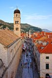 View down the main street of old town Dubrovnik, Croatia Stock Photography