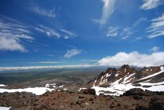 View down from Mount Ruapehu. Stock Photo