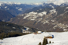 View down a mountain valley. View down a valley in the French Alps Royalty Free Stock Photos
