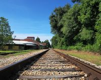 View down parallel train tracks royalty free stock photo