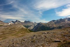 View down Parker Ridge Trail. Amazing panorama view on Parker Ridge Trail, Alberta, Canada Royalty Free Stock Images
