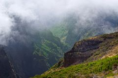 View down from Pico do Arieiro on Madeira. View down from Pico do Arieiro on Portuguese island of Madeira stock photography