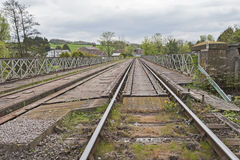 View down railway track in english countryside Royalty Free Stock Photos