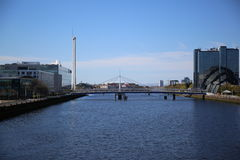 A view down the River Clyde, Glasgow, Scotland, UK. A view down the River Clyde from Central Glasgow. The Glasgow Tower is on the left Royalty Free Stock Image