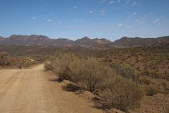 View down the road to national park and Ikara-Flinders Ranges stock images