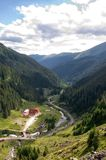 A View down the road from the top of the Transfagarasan Romania royalty free stock photography