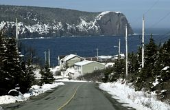 Winter landscape along the coast of Newfoundland Canada, near Flatrock. View down the road towards the small fishing village of Flatrock with the natural royalty free stock photography