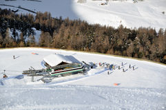View down ski slope on chairlift Stock Image