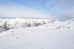 View down a snowy ski piste Royalty Free Stock Photo