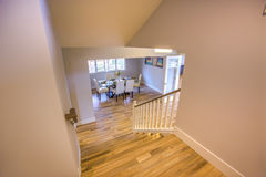 View down the stairs in San Diego home. Kitchen table in a model home in southern California Stock Photo