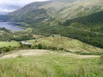 View down steep slope to Thirlmere, Lake District Royalty Free Stock Image