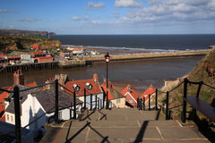 View down the steps to the harbour Whitby Royalty Free Stock Photography