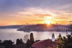 View down to the Bosphorus and the city of Istanbul at sunset. Turkey. Istanbul. royalty free stock image