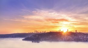View down to the Bosphorus and the city of Istanbul at sunset. Turkey. Istanbul. stock photography