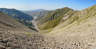 View down to Girdimanchay river valley in Azerbaijan Stock Photo