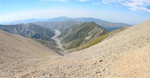 View down to Girdimanchay river valley from Mountain Babadag tra Stock Images