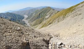 View down to Girdimanchay river valley from Mountain Babadag tra Royalty Free Stock Image