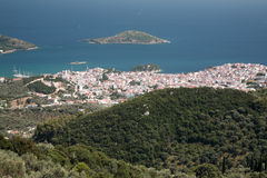 View down to Skiathos town Stock Photos