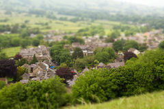 Toy Town. View down to a small countryside town with tilt and shift effect to give the impression of a toy town royalty free stock image
