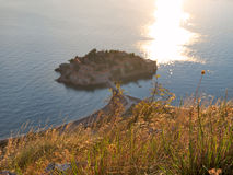 View down to the Sveti-Stefan in Montenegro Stock Photography