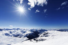 View down on typical Alpine ski resort Stock Photo