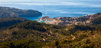 View down the valley with Port de Soller town Stock Images