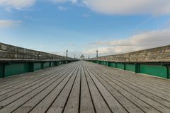 View down the Victorian Pier at Clevedon in Somerset stock photo