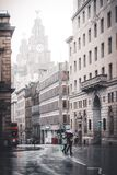 Liverpool City Centre in the rain. A view down Water Street, Liverpool. On a rainy sunday morning Stock Images