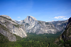 View down Yosemite Valley to Half Dome stock photography