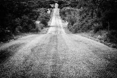 View Downhill on a Texas Country Backroad Royalty Free Stock Photography
