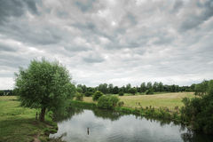 View downstream, cloudy day in England Stock Image