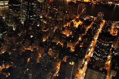 View of downtown from above. Above view of a part of manhattan by night Stock Photos