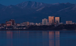View of downtown Anchorage Alaska at dusk Royalty Free Stock Images