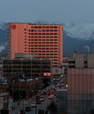 View of downtown Anchorage Alaska at dusk Stock Image