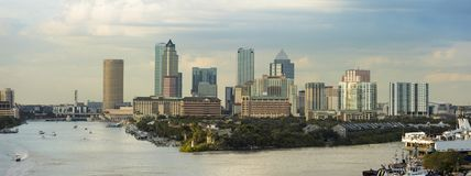 View of the downtown area of Tampa, Florida and port from the South. Logos have been removed. An editorial version with business. Names is also available in stock photography